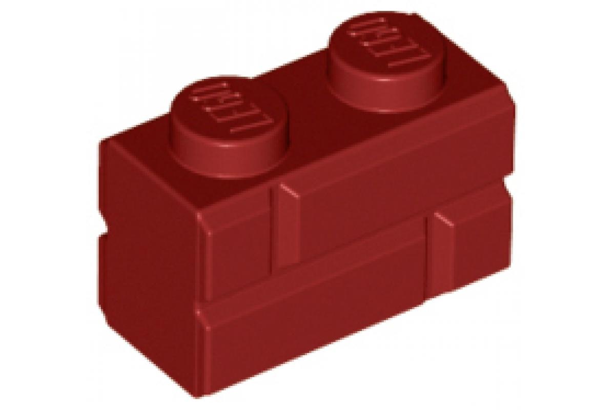 Part 98283 Brick, Modified 1 x 2 with Masonry Profile Dark Red