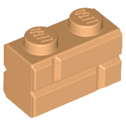 Brick, Modified 1 x 2 with Masonry Profile Medium Nougat