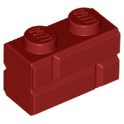 Part 98283 Brick, Modified 1 x 2 with Masonry Profile Dark Red