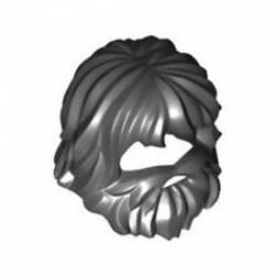 """Парик """"волосы с бородой"""" черного цвета"""